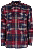 Topman Berry And Navy Check Drop Shoulder Casual Shirt