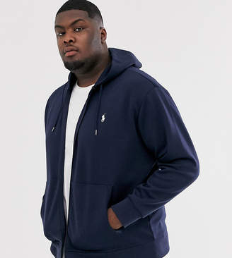 Big & Tall player logo zip through hoodie in navy