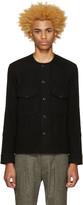 Lemaire Black Collarless Wool Shirt