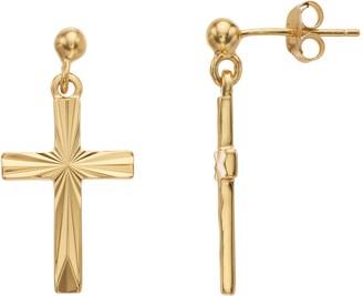 Primavera 24k Gold Over Silver Cross Drop Earrings