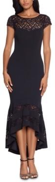 Xscape Evenings Lace Flounce Midi Dress & Face Mask