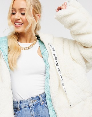 Sixth June textured oversized jacket with hood in off white
