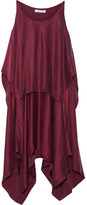 Elizabeth and James Greer Asymmetric Layered Brushed Silk-satin Dress - Burgundy