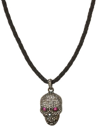 Nina Gilin Black Rhodium-Plated, Diamond & Ruby Skull Pendant Leather Cord Necklace