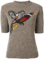 Mulberry knit bird patch top