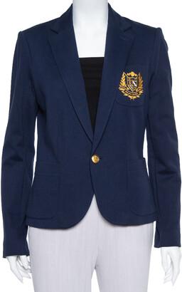 Ralph Lauren Navy Blue Knit Logo Embroidered Pocket Detail Blazer L