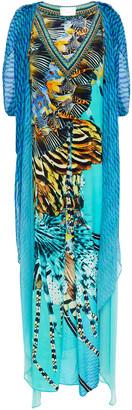 Camilla Marine Queen Embellished Printed Silk-georgette And Crepe De Chine Kaftan