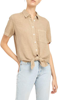 Theory Hekanina 2 Linen Tie-Front Top