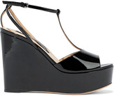 Thumbnail for your product : Sergio Rossi Patent-leather Platform Wedge Sandals