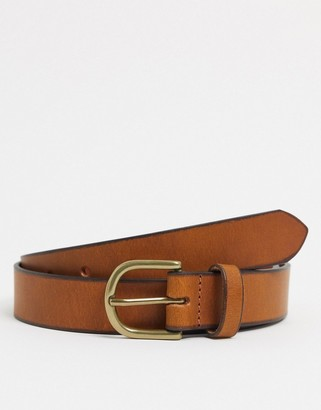 ASOS DESIGN leather slim belt in brown with gold buckle