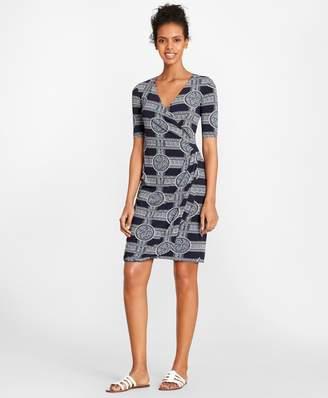 Brooks Brothers Porcelain-Print Jersey Faux Wrap Dress