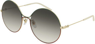 Gucci Metal Web-Front Round Sunglasses