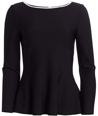 St. John Sculpted Milano Knit Fit-&-Flare Top