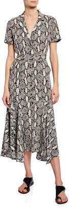 A.L.C. Clarkson Snake-Print Midi Shirt Dress