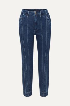 3x1 + Jason Wu Paneled High-rise Slim-leg Jeans - Dark denim