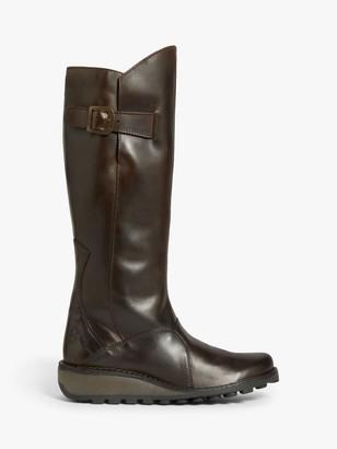 Fly London Mol Leather Wedge Heel Knee High Boots
