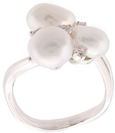 Baggins 18kt white gold three white South Sea pearl and diamond cluster ring