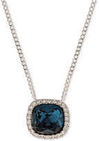 Givenchy Silver-Tone Blue Crystal and Pavé Pendant Necklace