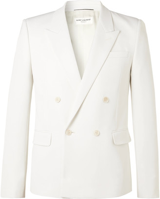 Saint Laurent Ivory Double-Breasted Wool Suit Jacket