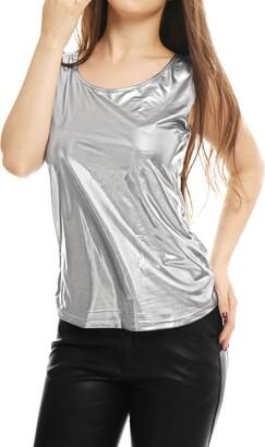 Allegra K Woman U Neck Sleeveless Stretch Shiny Design Tank Top Gold Tone S (UK 8) Gold Tone