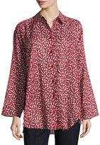 Lafayette 148 New York Leanne Floral-Print Blouse, Black Pattern