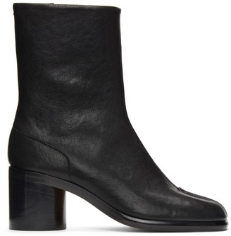 Maison Margiela Black Mid Heel Tabi Boots