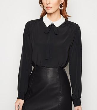 New Look Frill Trim Contrast Collar Shirt