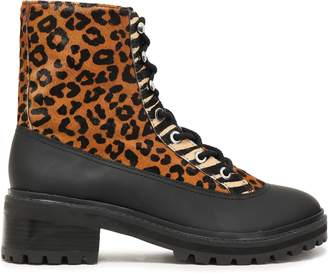 Schutz Leopard-print Calf Hair And Rubber Ankle Boots