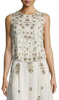Haute Hippie Sleeveless Embellished Silk Tank, Antique