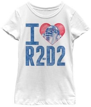 Fifth Sun Star Wars Big Girl's I Heart R2-D2 Color Crayon Short Sleeve T-Shirt