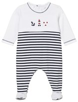 Emile et Rose Navy and White Seaside Kenzie Footed Babygrow