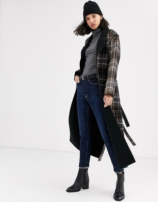 NATIVE YOUTH longline reversible coat with belt in check-Brown