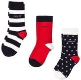 Gant 2 Pack Navy and Red Stars and Stripe Socks