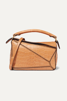 Loewe Puzzle Mini Crocodile Shoulder Bag - Tan
