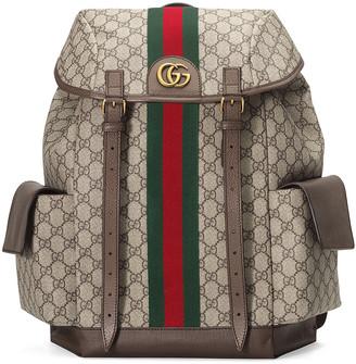 Gucci GG Medium Backpack In Beige Ebony & Green & Red in Beige Ebony & Green & Red | FWRD