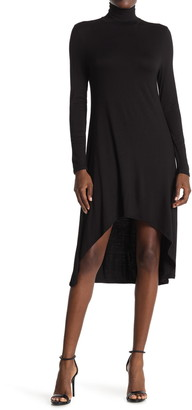 Velvet Torch Mock Neck High/Low Hem Skater Dress