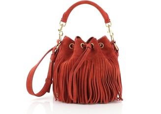 Saint Laurent Fringe Emmanuelle Bucket Bag Suede Small