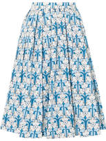 Prada Iris Printed Cotton-poplin Midi Skirt - Blue
