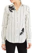 Lauren Ralph Lauren Embroidered Striped Cotton Button-Down Shirt