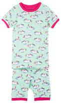 Hatley Children's Roly Poly Unicorns Short Sleeve Pyjamas, Turquoise