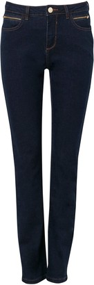 Wallis Indigo Zip Detail Straight Leg Jean