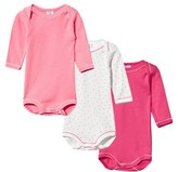 Petit Bateau Pack of 3 Pink and Spot Long Sleeve Bodies