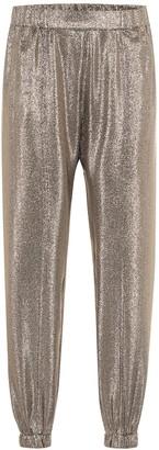 Saint Laurent Metallic silk-blend trackpants