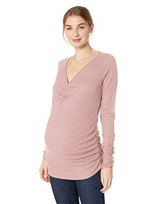 Motherhood Maternity Women's Maternity Long Sleeve Side Ruched Lace Detail Thermal Henley
