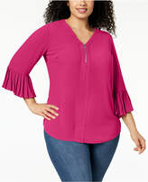 NY Collection Plus Size Pleated-Cuff Top