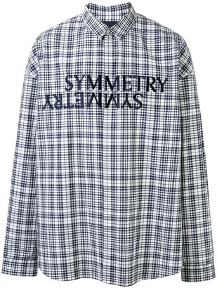 Juun.J Symmetry embroidered plaid print shirt