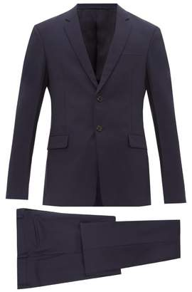Prada Single Breasted Mohair Blend Two Piece Suit - Mens - Navy