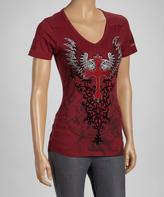 Rebel Spirit Wine Winged Cross Tee - Women