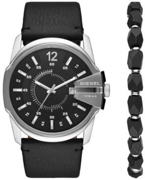 Diesel Men's Master Chief Black Leather Strap Watch 45mm Box Set
