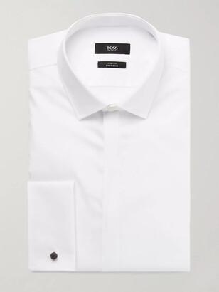 HUGO BOSS White Jilias Slim-Fit Double-Cuff Cotton Oxford Shirt